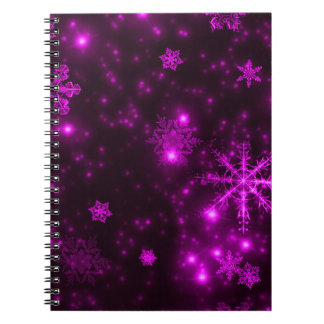 Snowflakes with Purple Background Spiral Note Books