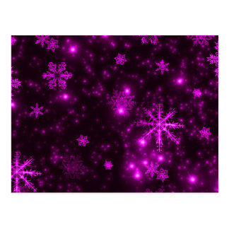 Snowflakes with Purple Background Postcards