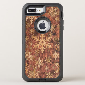 Snowflakes Wood Inlay Graphic Print Decor on a OtterBox Defender iPhone 8 Plus/7 Plus Case