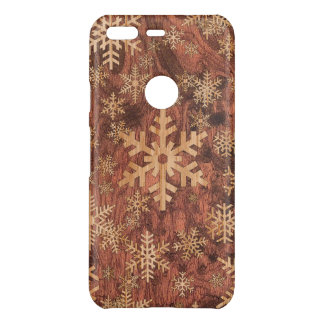 Snowflakes Wood Inlay Graphic Print Decor on a Uncommon Google Pixel Case