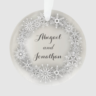 Snowflakes Wreath Personalized Christmas Ornament