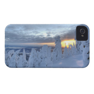 Snowghosts at sunset at Whitefish Mountain iPhone 4 Case-Mate Cases