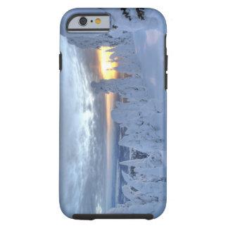 Snowghosts at sunset at Whitefish Mountain Tough iPhone 6 Case