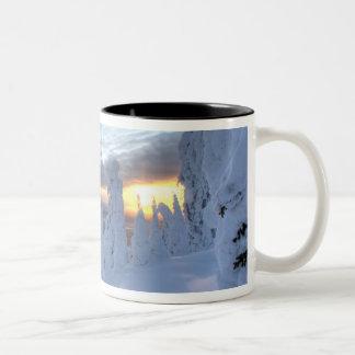 Snowghosts at sunset at Whitefish Mountain Two-Tone Mug