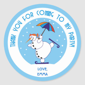 Snowgirl Dancing on Ice Thank You Stickers