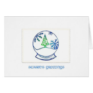 Snowglobe Blue and Green Greeting Card