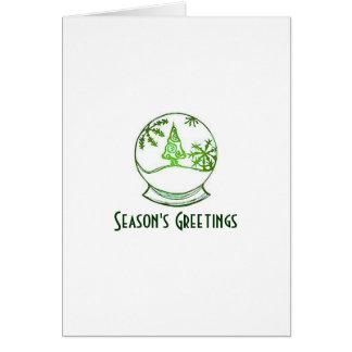 Snowglobe Green Season's Greetings Greeting Card