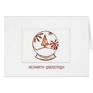 Snowglobe Red Season's Greetings Greeting Card
