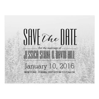 Snowing Forest Winter Wedding Save the Date Postcard