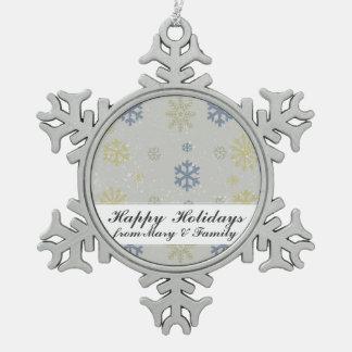Snowing Snowflake Illustration Holiday Greeting Ornament