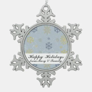 Snowing Snowflake Illustration Holiday Greeting Pewter Snowflake Decoration