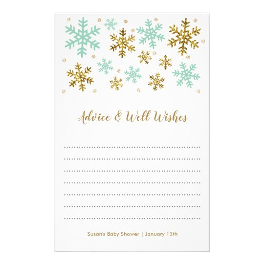 Snowlfakes Mint and Gold Winter Baby Shower Advice Flyer