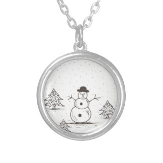 snowman2 silver plated necklace