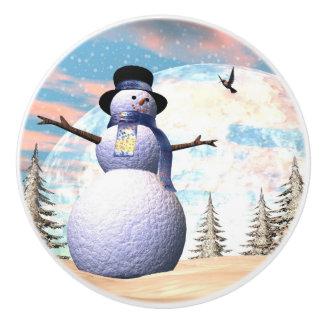 Snowman - 3D render Ceramic Knob