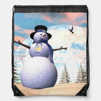 Snowman - 3D render Drawstring Bag