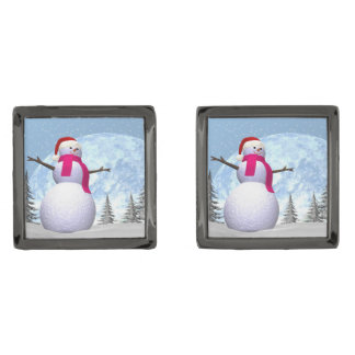Snowman - 3D render Gunmetal Finish Cufflinks