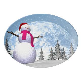 Snowman - 3D render Porcelain Serving Platter