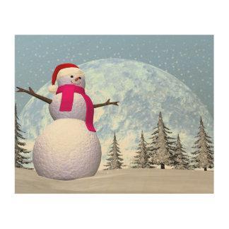 Snowman - 3D render Wood Print