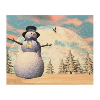 Snowman - 3D render Wood Wall Decor