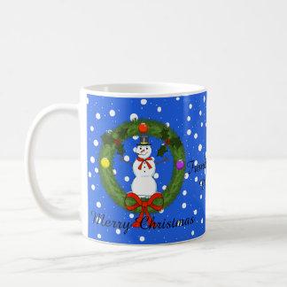 Snowman a Wreath Christmas Mug