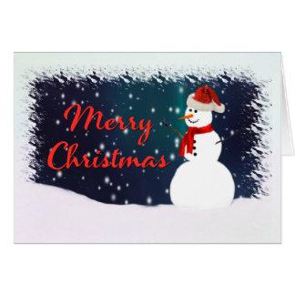 Snowman Against a Starry Sky Merry Christmas Card