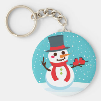 Snowman and Birds Basic Round Button Key Ring