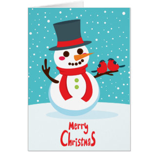 Snowman and Birds Note Card