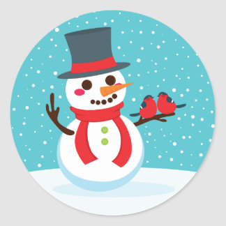 Snowman and Birds Round Sticker
