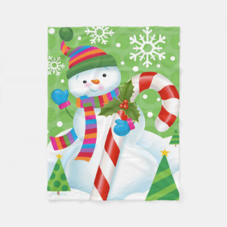 Snowman and Candy Cane Fleece Blanket