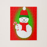 Snowman and Candy Cane Jigsaw Puzzle