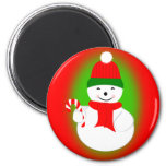 Snowman and Candy Cane Refrigerator Magnet