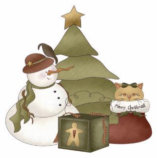 Snowman And Cat Ornament Photo Sculptures