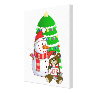 Snowman And Christmas Bear Gallery Wrapped Canvas
