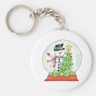 Snowman and Christmas Tree in a Snow Globe Basic Round Button Key Ring