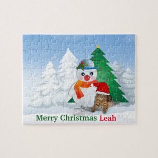Snowman and Christmas Tree Jigsaw Puzzle