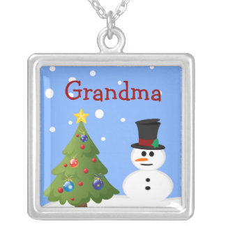 Snowman and Christmas Tree Personalized Necklace