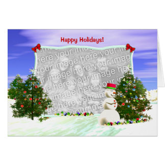 Snowman and Christmas Trees (photo frame) Card