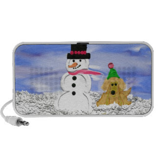 Snowman and dog iPhone speaker