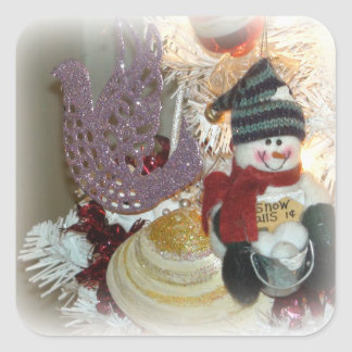 Snowman and Dove Christmas Ornament Stickers