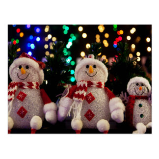 Snowman and Family ornaments on Tree Postcard