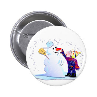 snowman and his girl pinback buttons