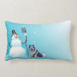 Snowman and keeshond Pillow