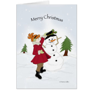 Snowman and Little girl Card