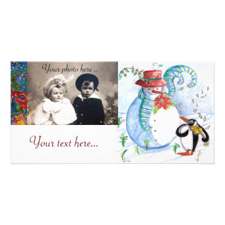 SNOWMAN AND PENGUIN'S WINTER SERENADE PERSONALIZED PHOTO CARD