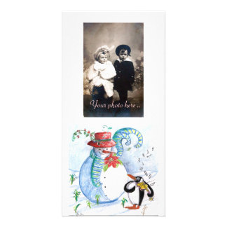 SNOWMAN AND PENGUIN'S WINTER SERENADE PICTURE CARD