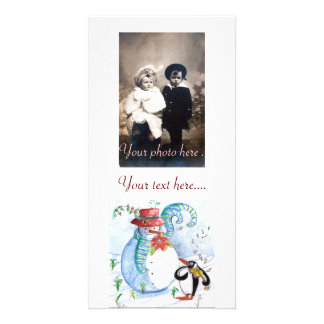 SNOWMAN AND PENGUIN'S WINTER SERENADE PHOTO CARD TEMPLATE