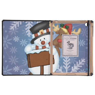 Snowman and Reindeer Merry Christmas Covers For iPad