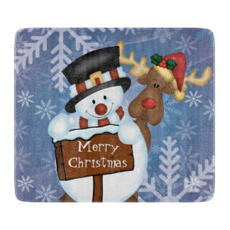 Snowman and Reindeer Merry Christmas Cutting Board