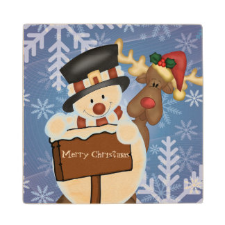 Snowman and Reindeer Merry Christmas Maple Wood Coaster