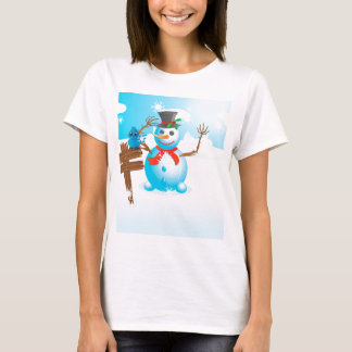 Snowman and signboard T-Shirt